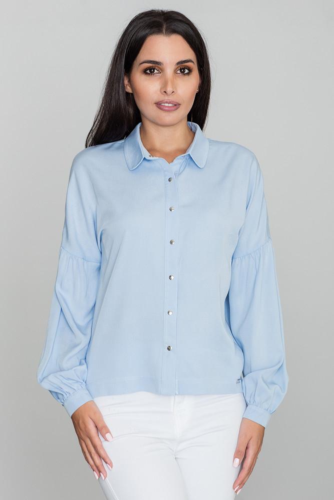 CM3475 Kimonowa koszula z długim rękawem - błękitna