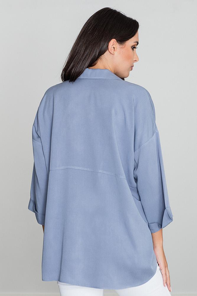 CM3476 Luźna koszula oversize - niebieska