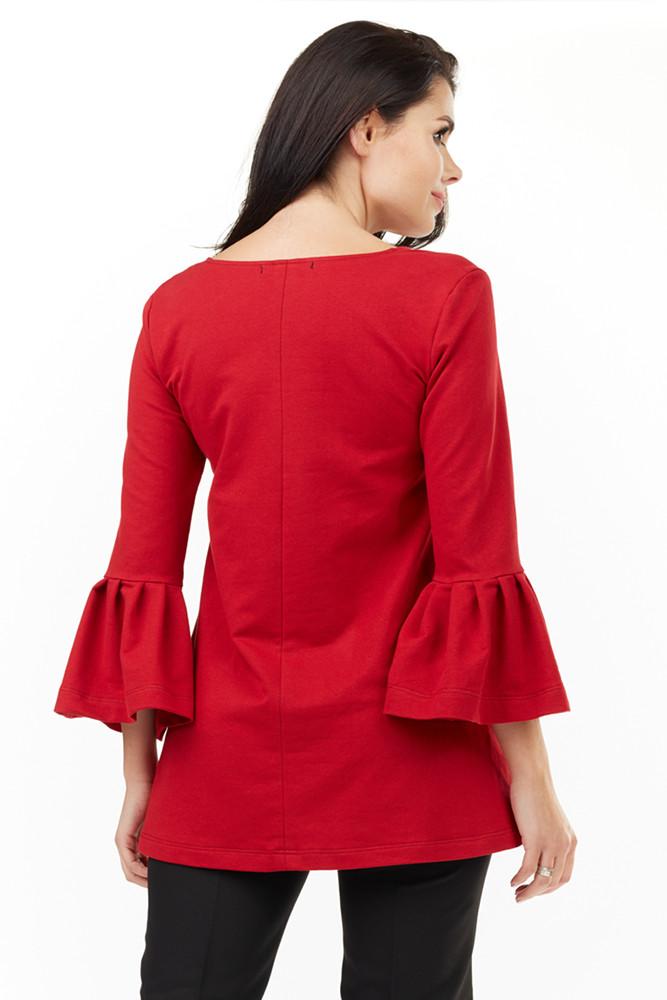 CM3493 Zwiewna bluzka damska z falbaną przy rękawach - czerwona
