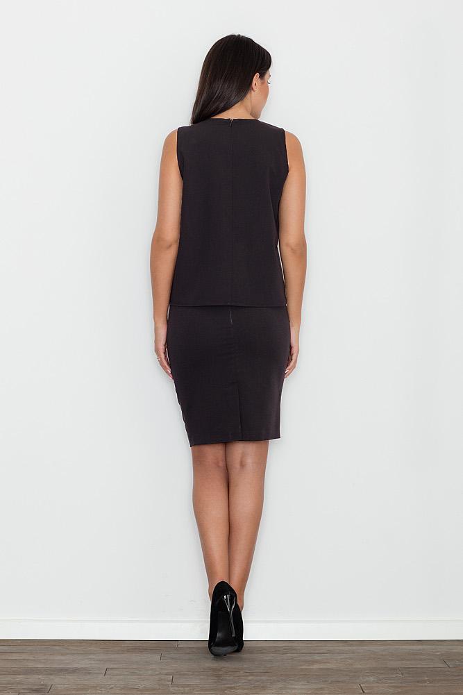 CM3477 Komplet - bluzka z dopasowaną spódnicą - czarny
