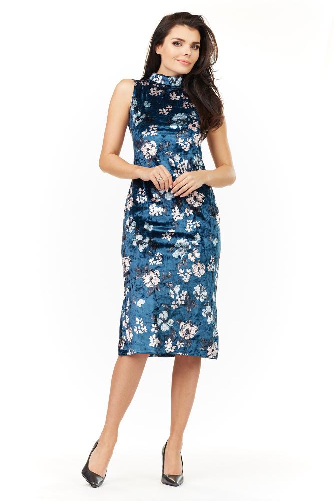 CM3482 Kobieca sukienka bez rękawów - granatowa
