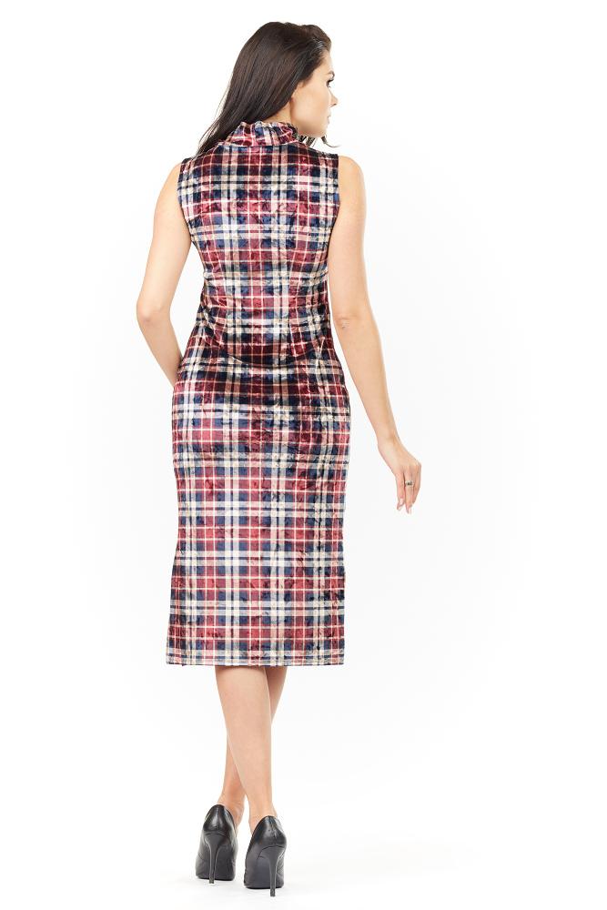 CM3482 Kobieca sukienka bez rękawów - kratka