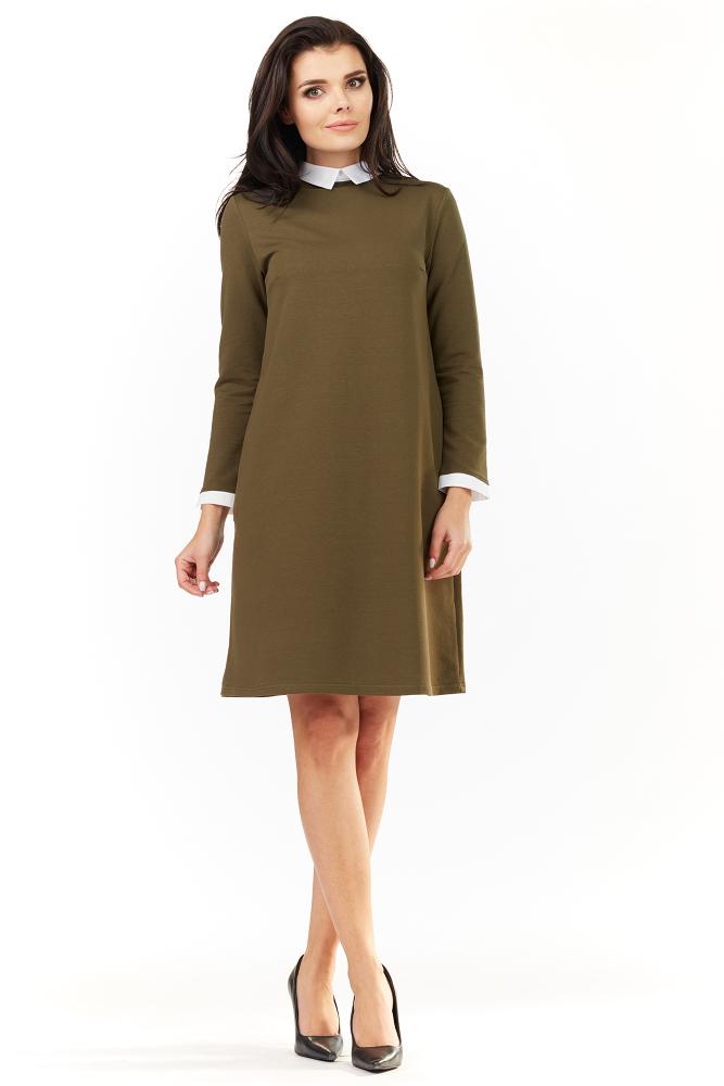 3a6801838a CM3484 Trapezowa sukienka z kołnierzykiem - khaki ...
