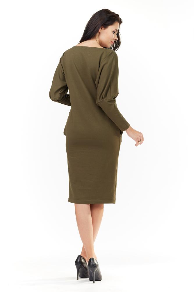 CM3497 Dopasowana sukienka z kieszeniami - khaki