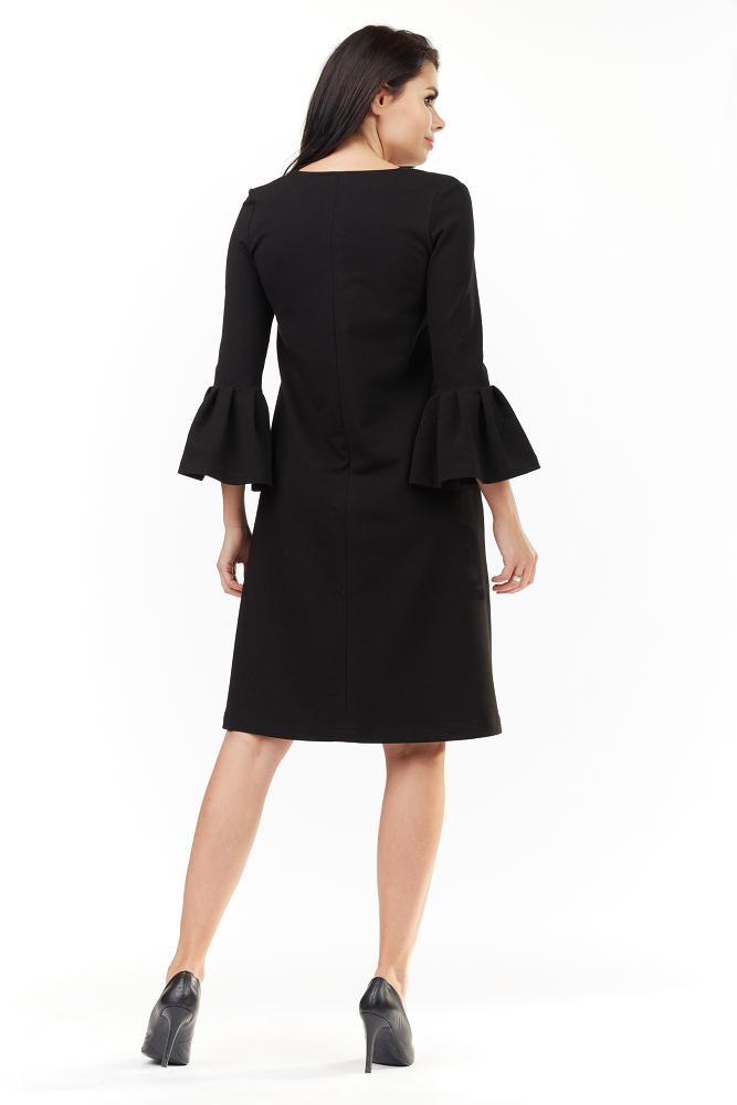 CM3498 Sukienka z falbanami przy rękawach - czarna