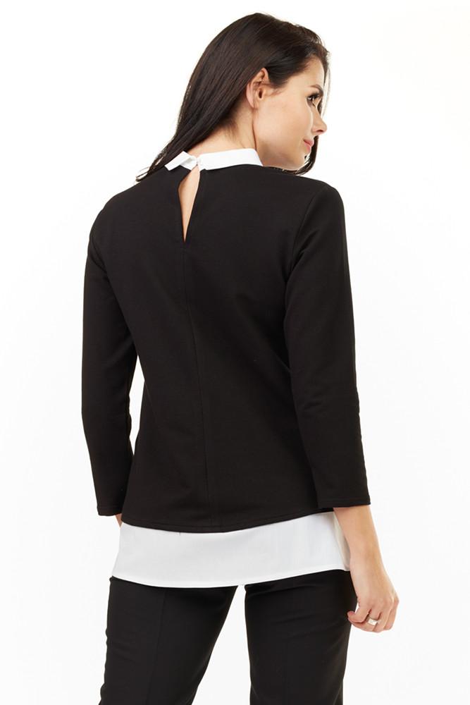CM3499 Dzianinowa bluzka z białym kołnierzykiem - czarna