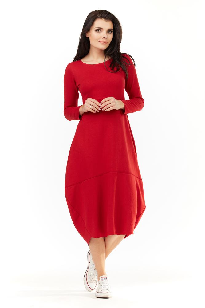 CM3500 Dresowa sukienka midi z długim rękawem - czerwona