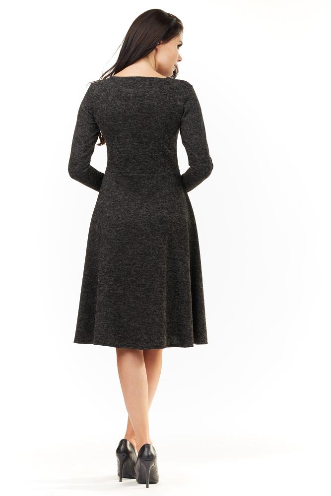 CM3501 Dzianinowa sukienka z długim rękawem - grafitowa