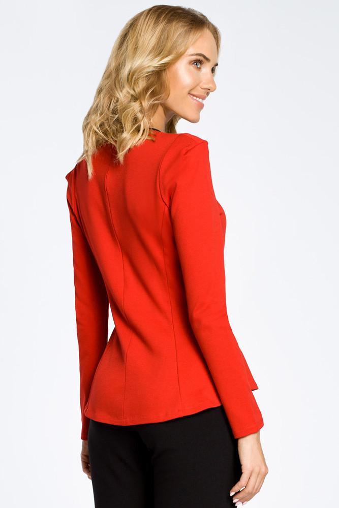 CM0204 Taliowana bluzka damska z bufkami i skórzaną lamówką - czerwona