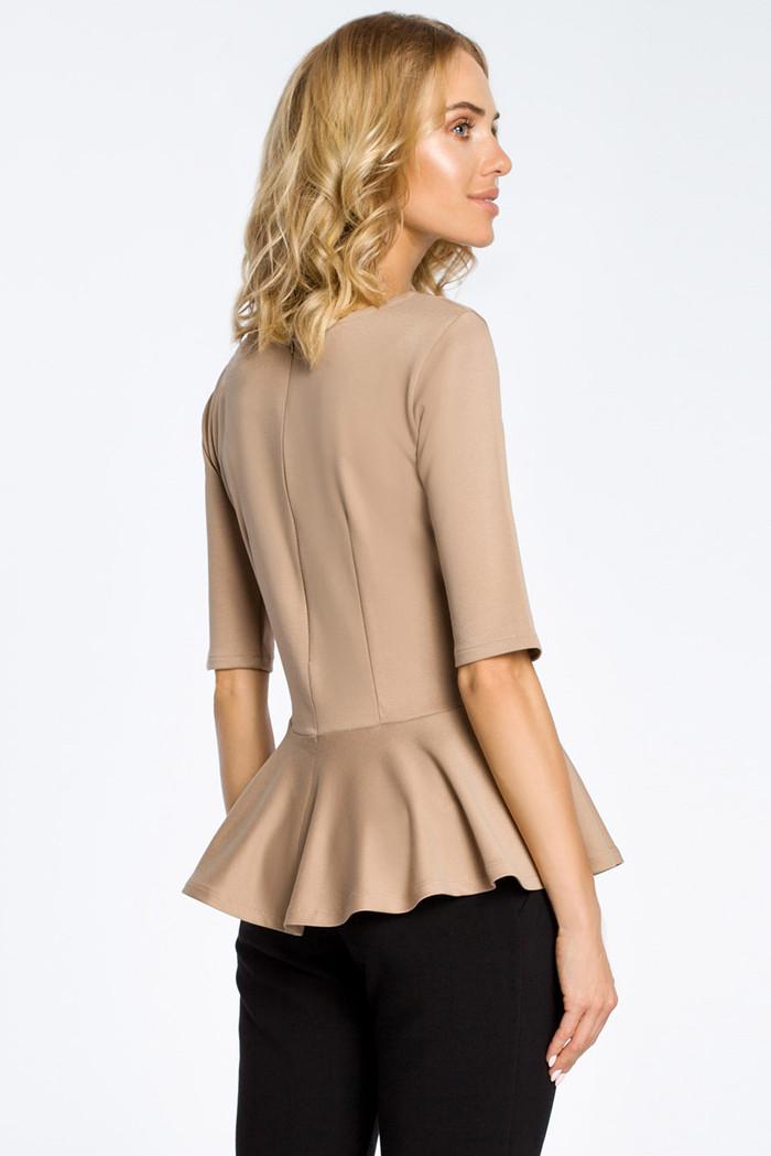 CM0206 Elegancka bluzka z baskinką - cappuccino