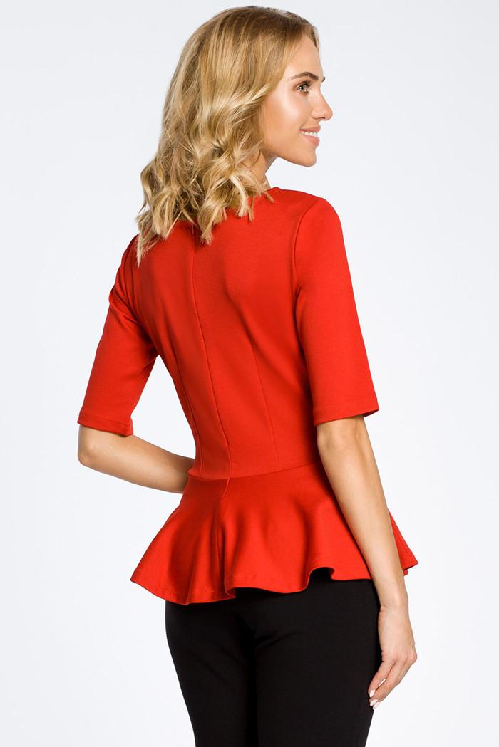 CM0206 Elegancka bluzka z baskinką - czerwona