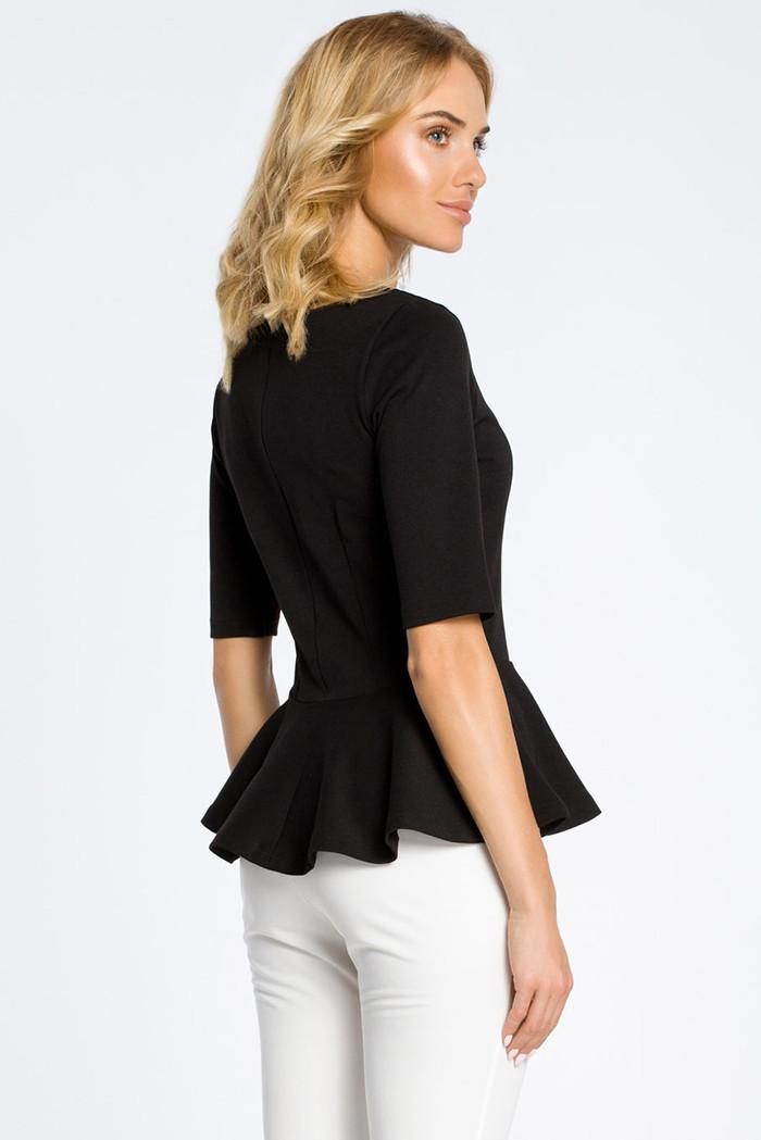 CM0206 Elegancka bluzka z baskinką - czarna