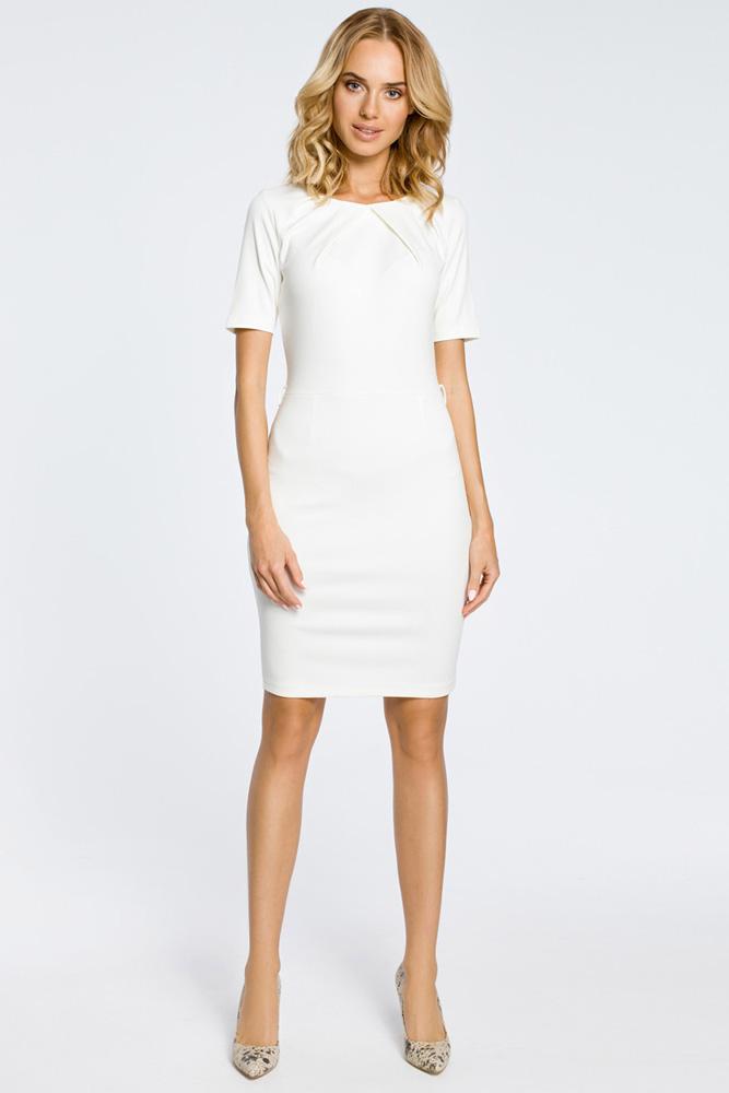 CM0219 Klasyczna elegancka sukienka ołówkowa - ecru