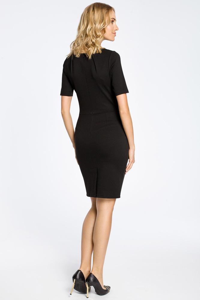 CM0219 Klasyczna elegancka sukienka ołówkowa - czarna