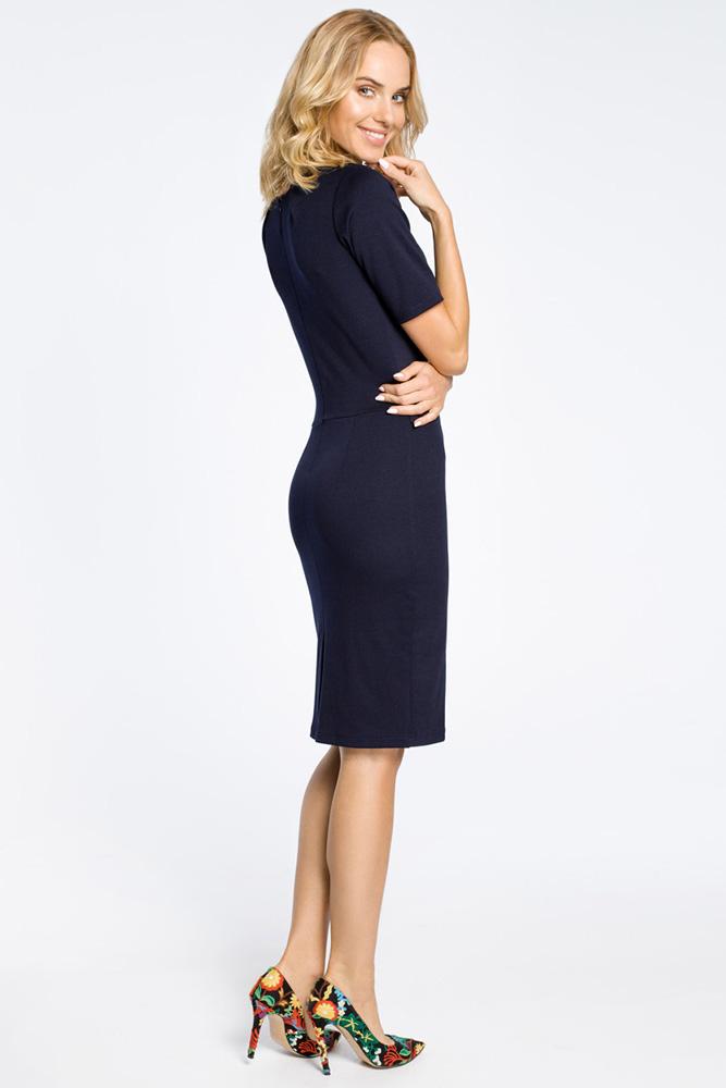 CM0219 Klasyczna elegancka sukienka ołówkowa - granatowa