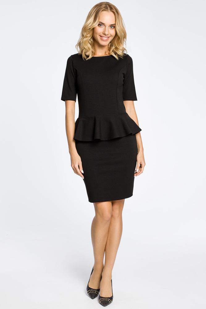 CM0220 Elegancka sukienka ołówkowa z baskinką - czarna