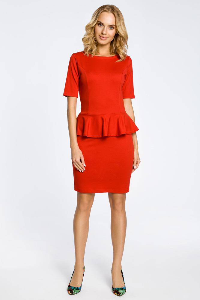 CM0220 Elegancka sukienka ołówkowa z baskinką - czerwona