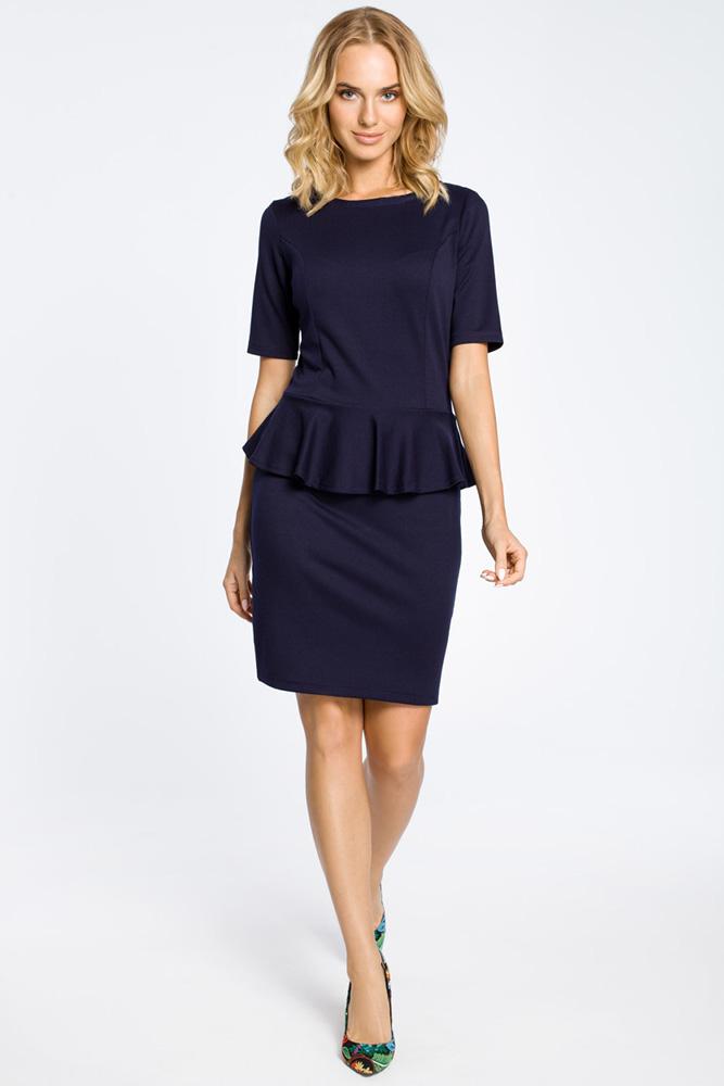 CM0220 Elegancka sukienka ołówkowa z baskinką - granatowa