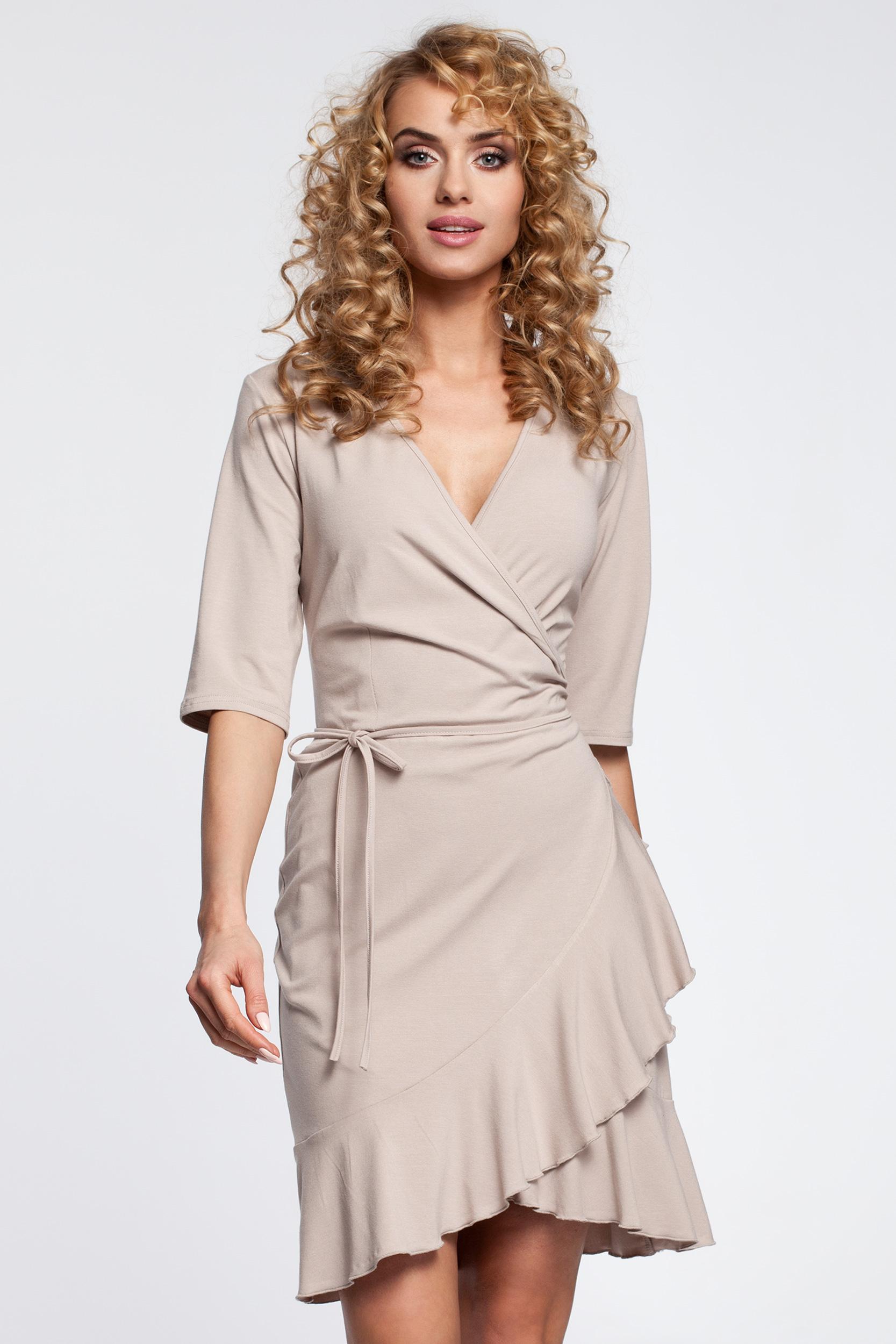 CM2910 Przewiązana sukienka kopertowa z falbanką - beżowa