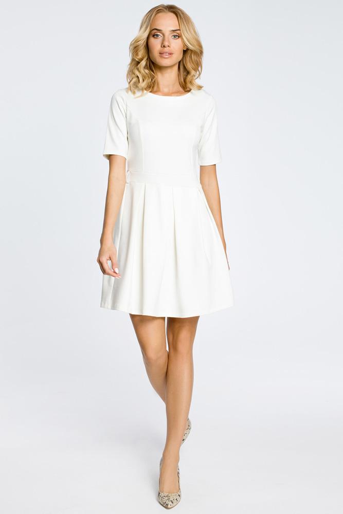 CM0224 Rozkloszowana sukienka kontrafałda z dzianiny - ecru