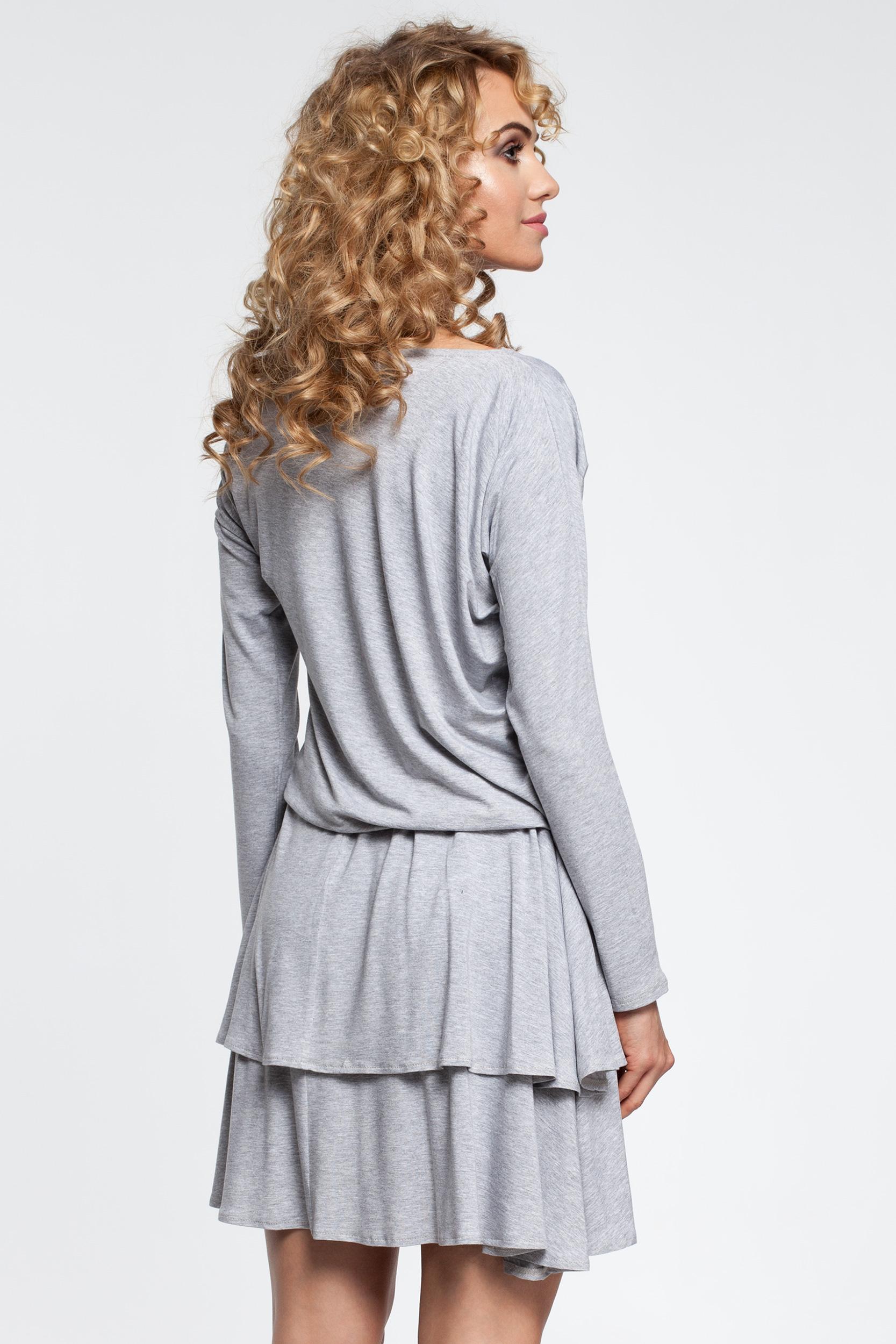 CM2909 Stylowa sukienka z falbanami - popielata
