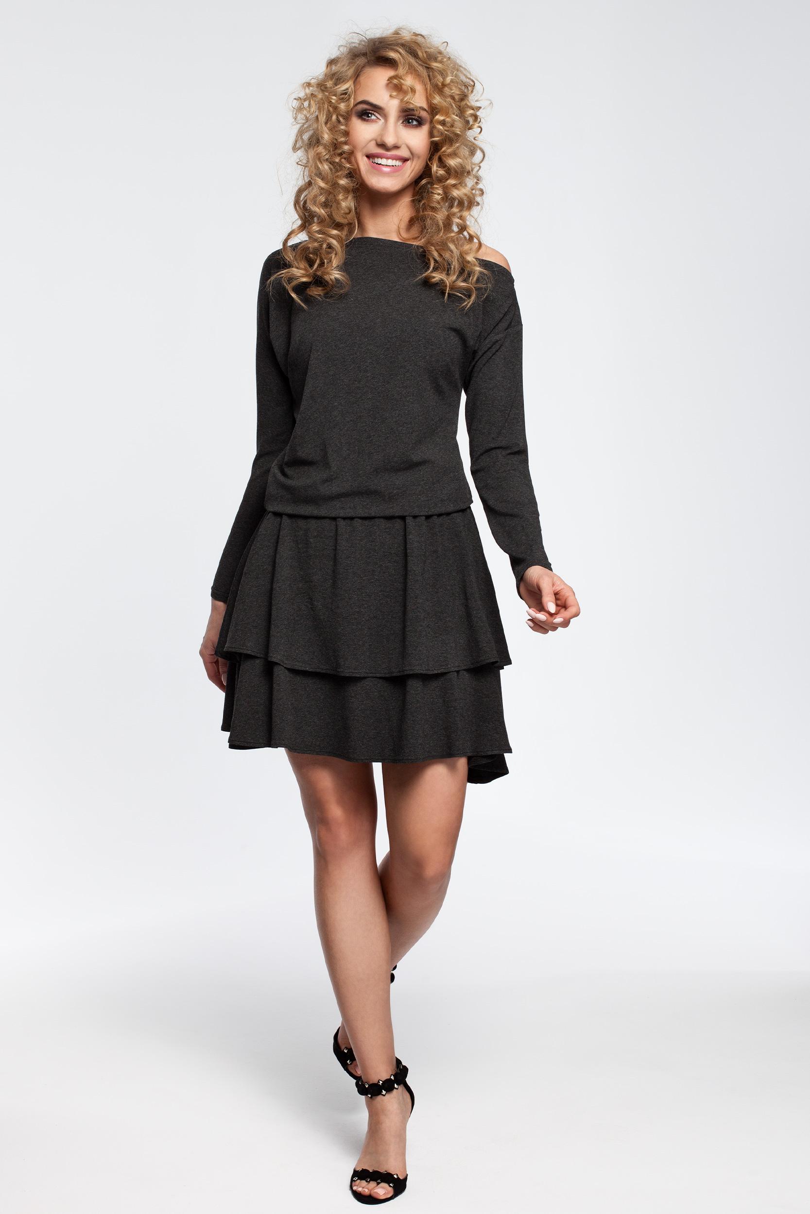 CM2909 Stylowa sukienka z falbanami - grafitowa