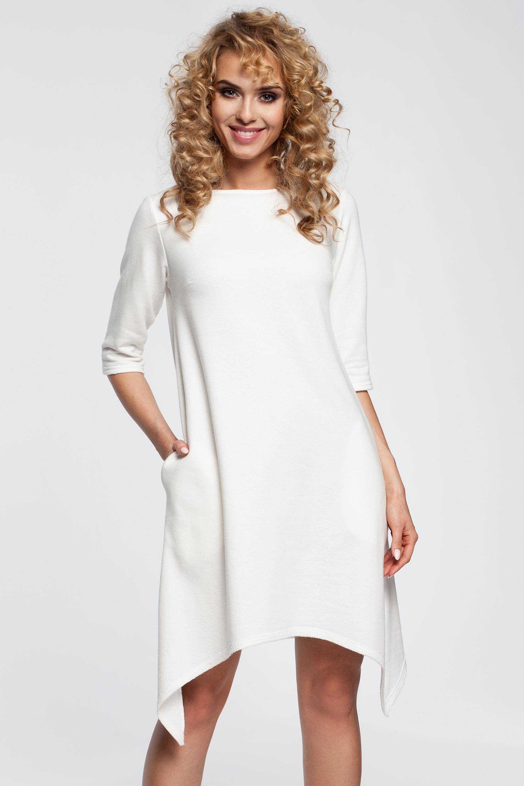 CM2907 Asymetryczna sukienka dresowa - ecru