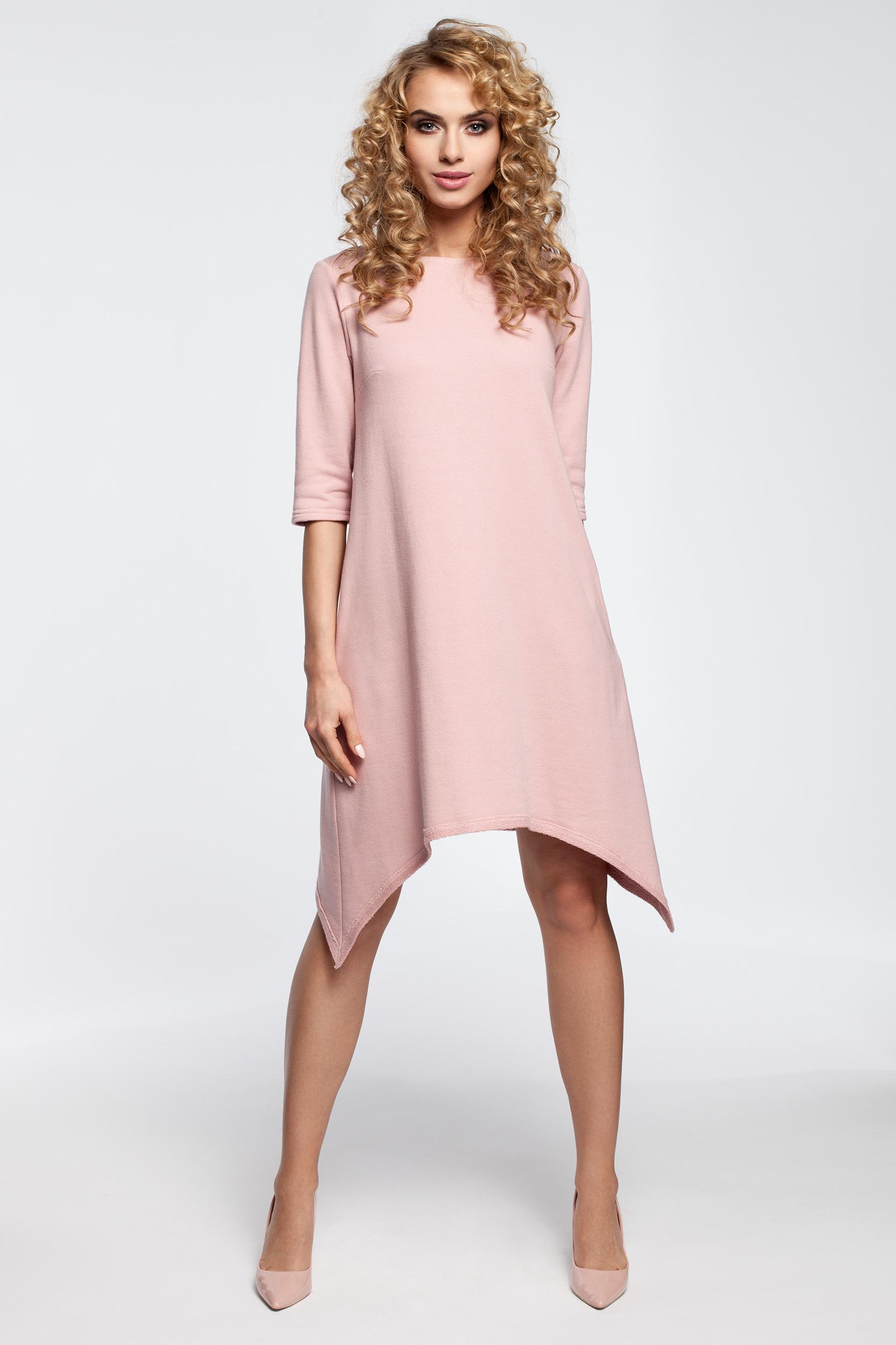 2786330003 CM2907 Asymetryczna sukienka dresowa - pudrowa ...