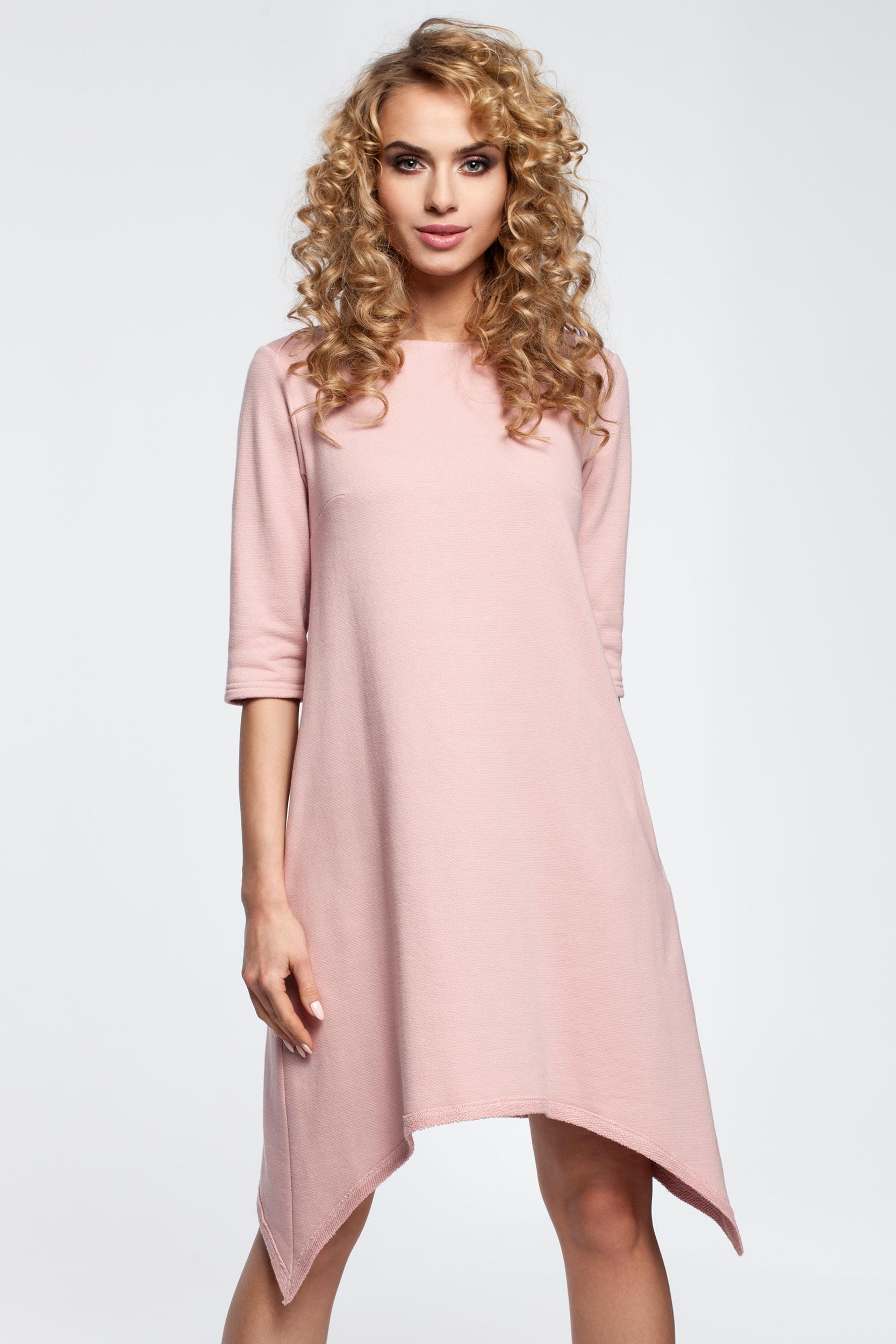 CM2907 Asymetryczna sukienka dresowa - pudrowa