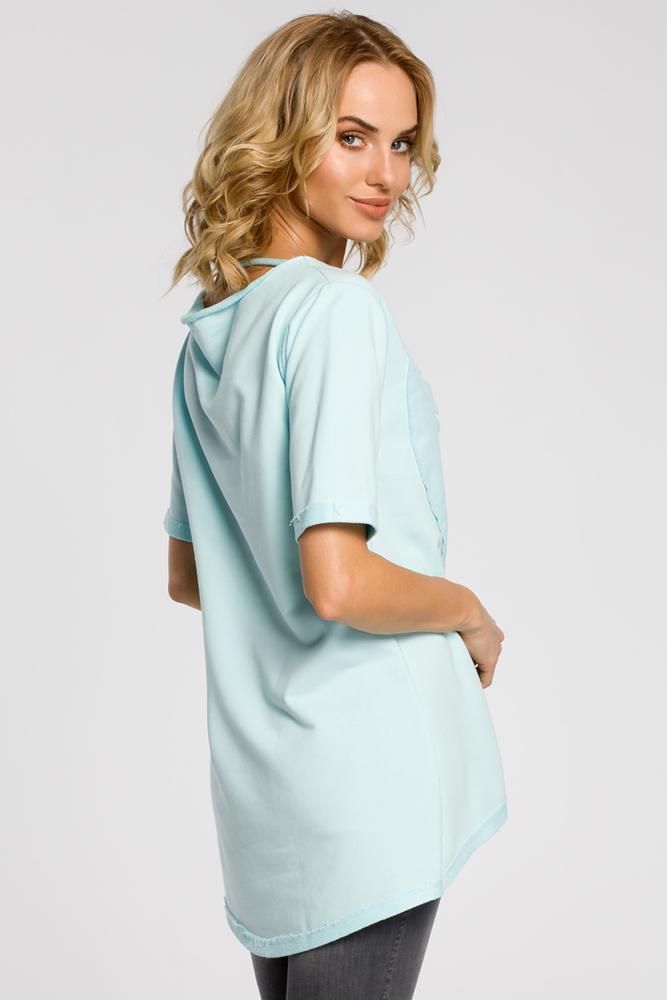 CM0274 Dresowa bluza tunika serce - miętowa