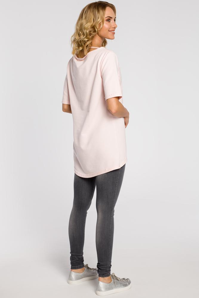 CM0274 Dresowa bluza tunika serce - pudrowa