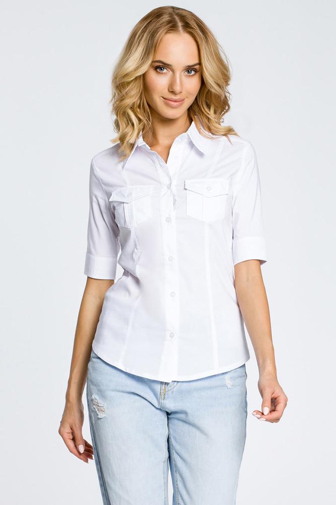 CM0284 Klasyczna taliowana koszula mankiety - biała