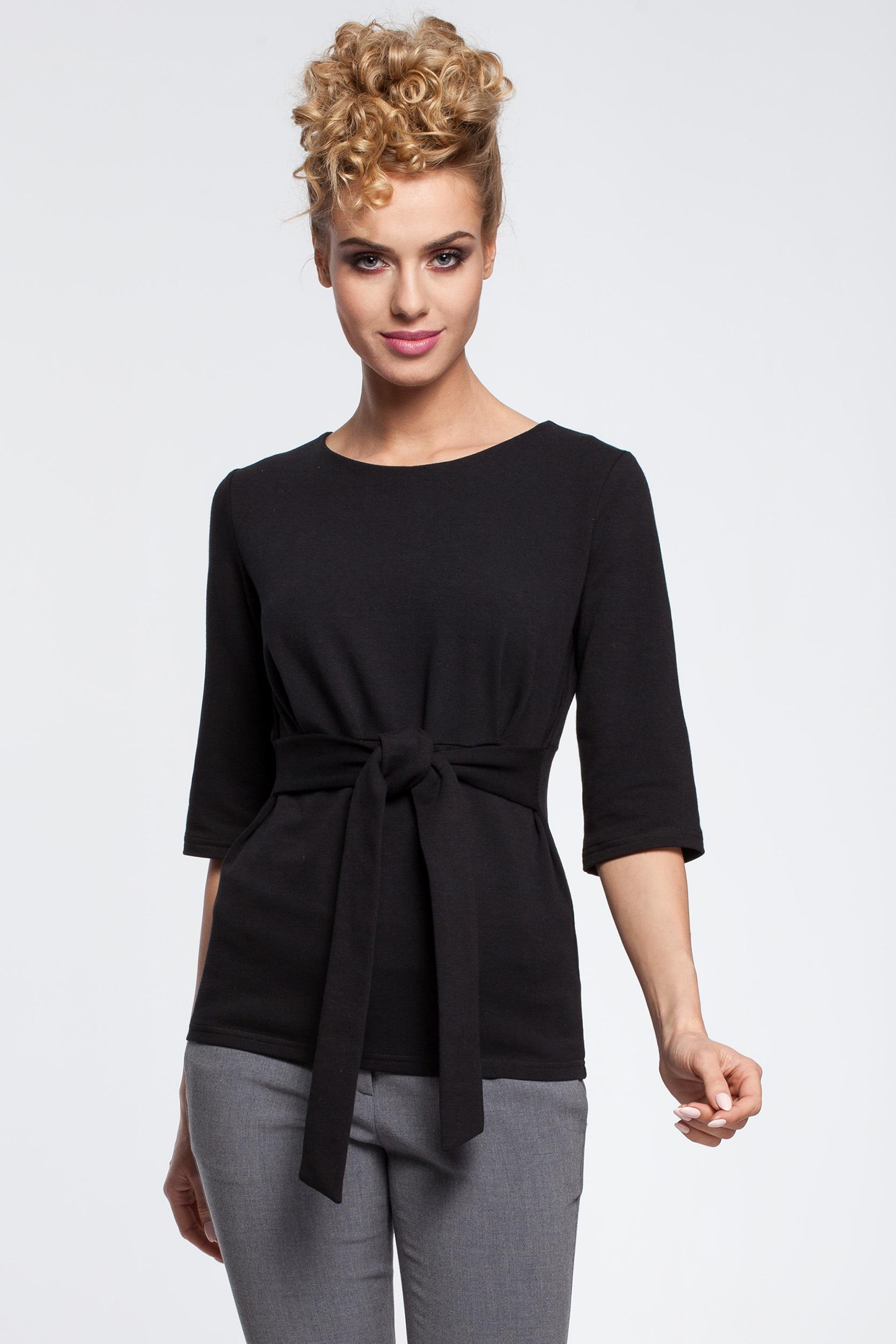 CM2903 Damska bluzka z zaszewkami i paskiem - czarna