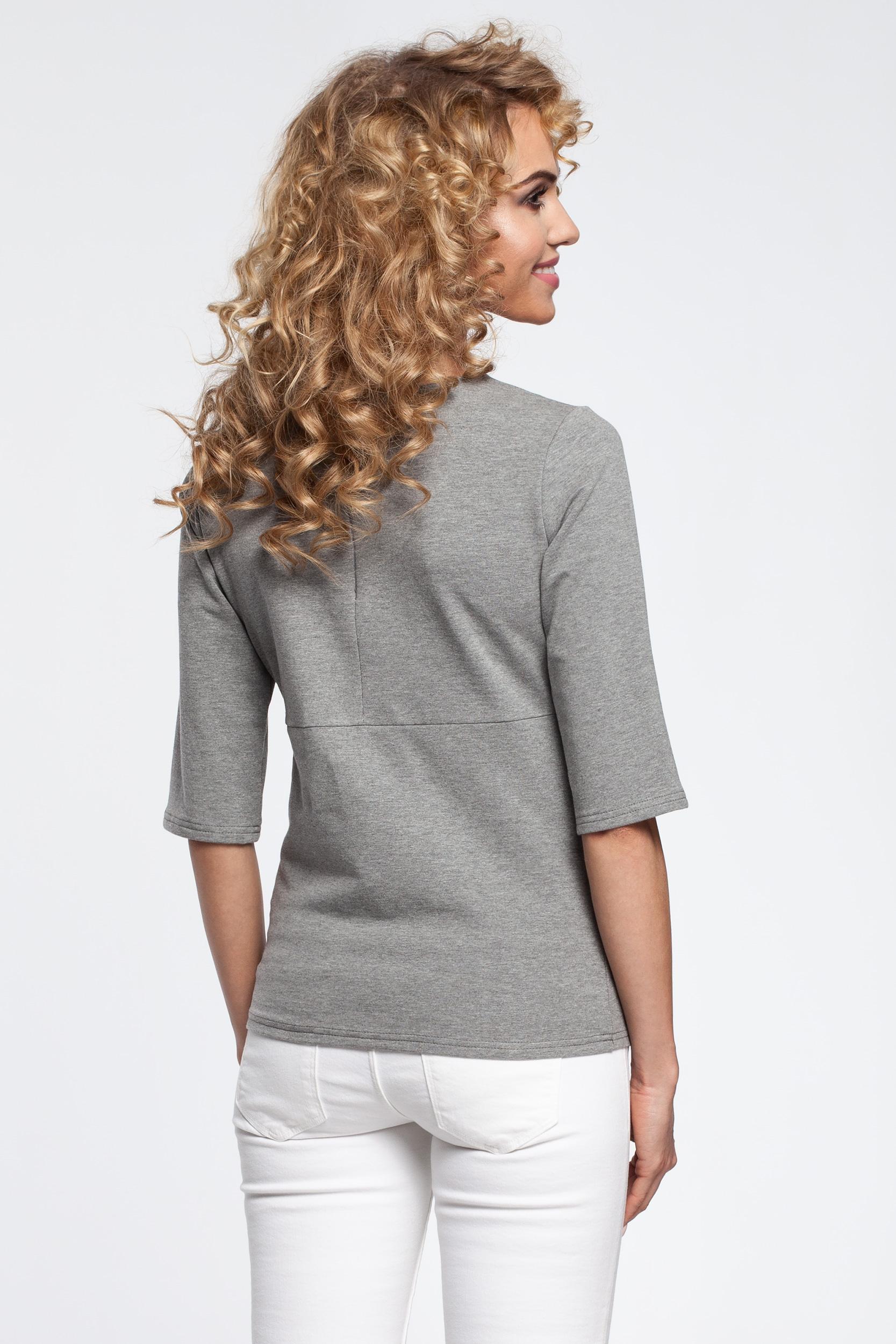 CM2903 Damska bluzka z zaszewkami i paskiem - szara