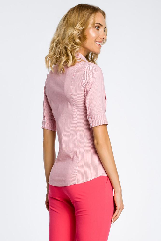 CM0284 Klasyczna taliowana koszula mankiety - malinowa
