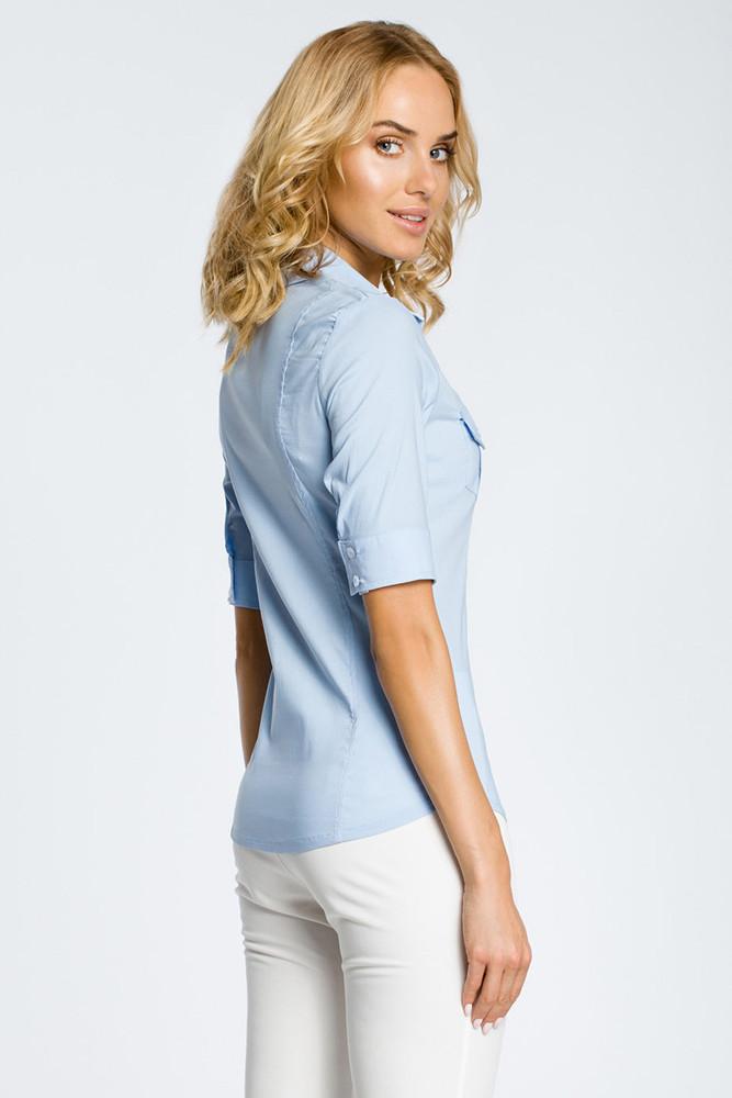 CM0284 Klasyczna taliowana koszula mankiety - błękitna