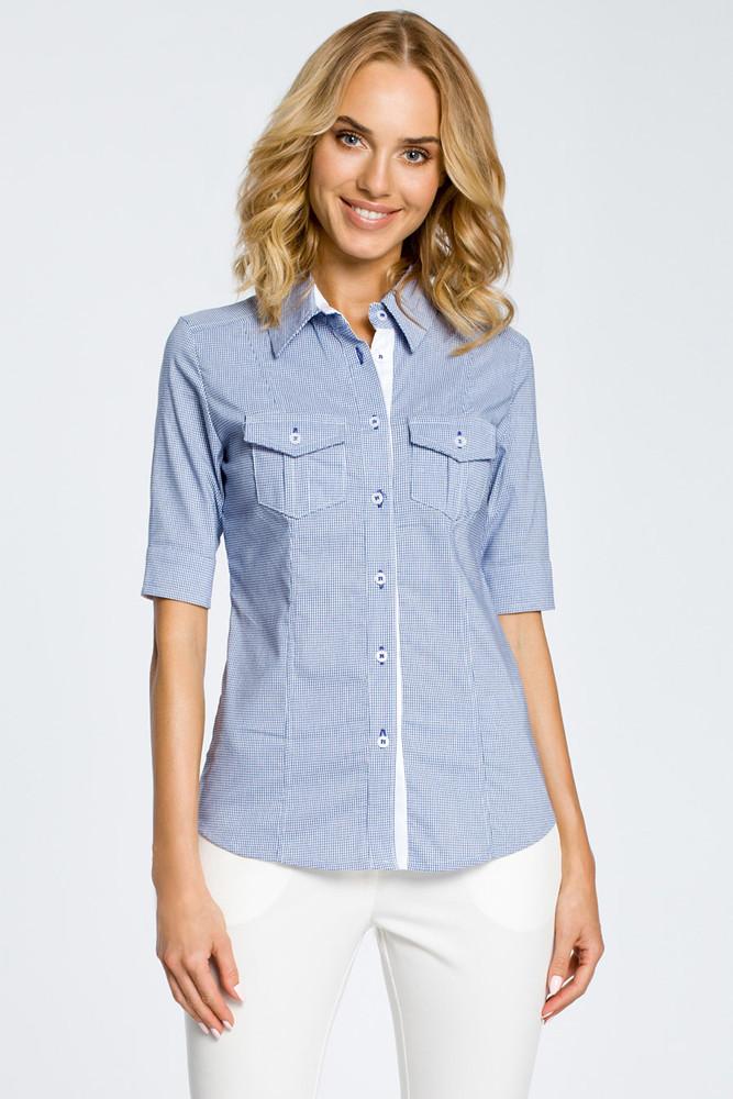 CM0284 Klasyczna taliowana koszula mankiety - niebieska