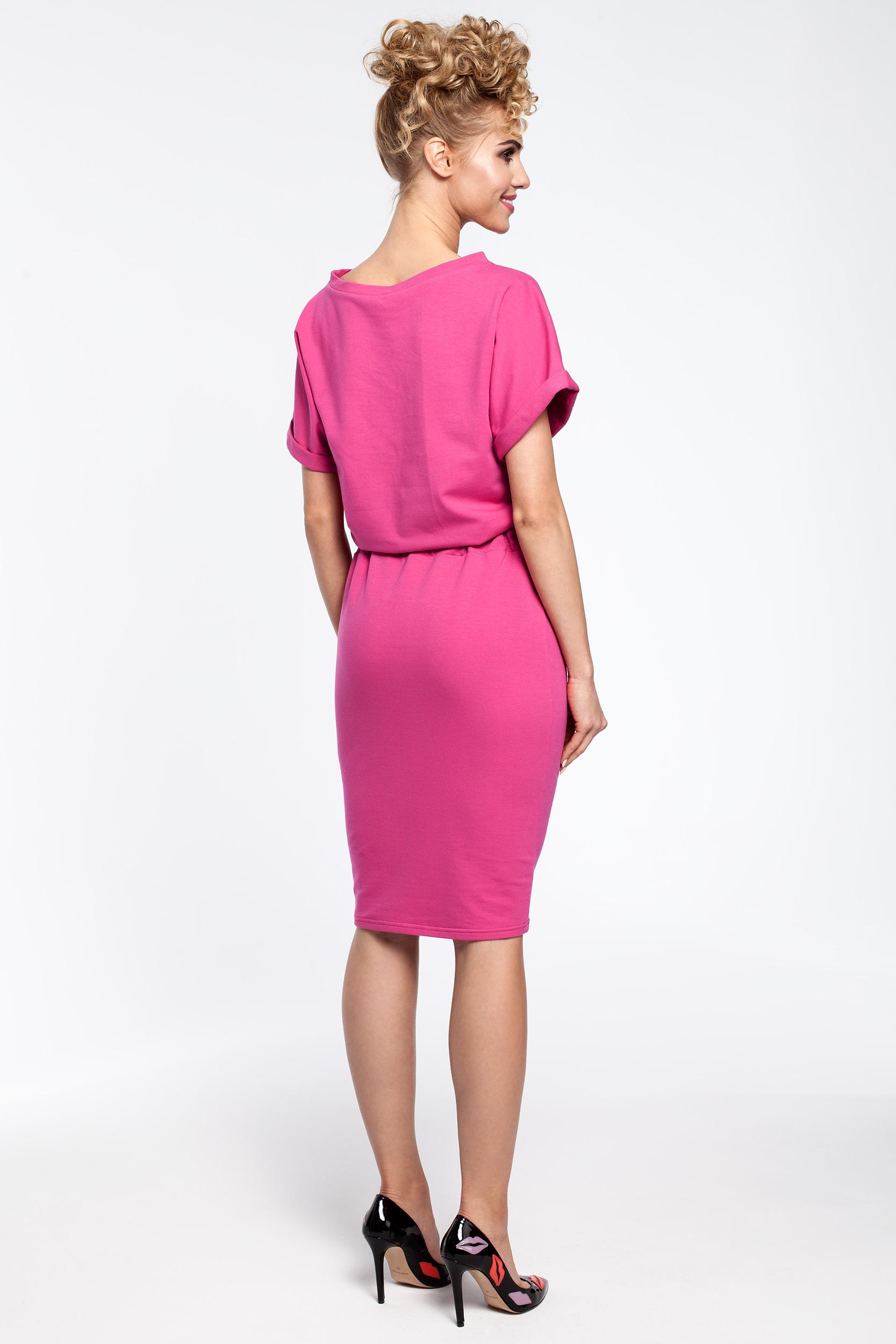 CM2900 Sukienka midi z wiązaniem w pasie - fuksja