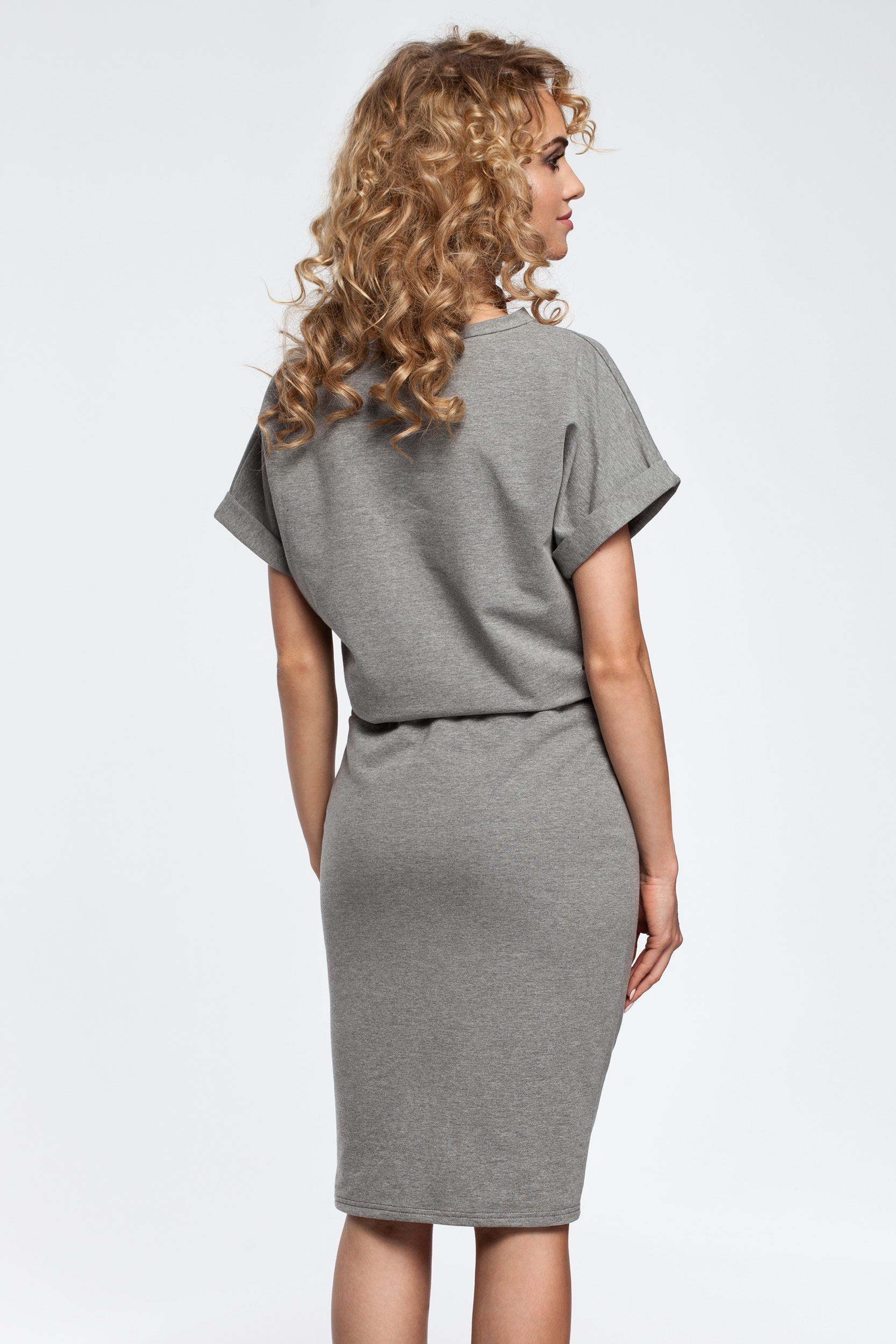 CM2900 Sukienka midi z wiązaniem w pasie - szara
