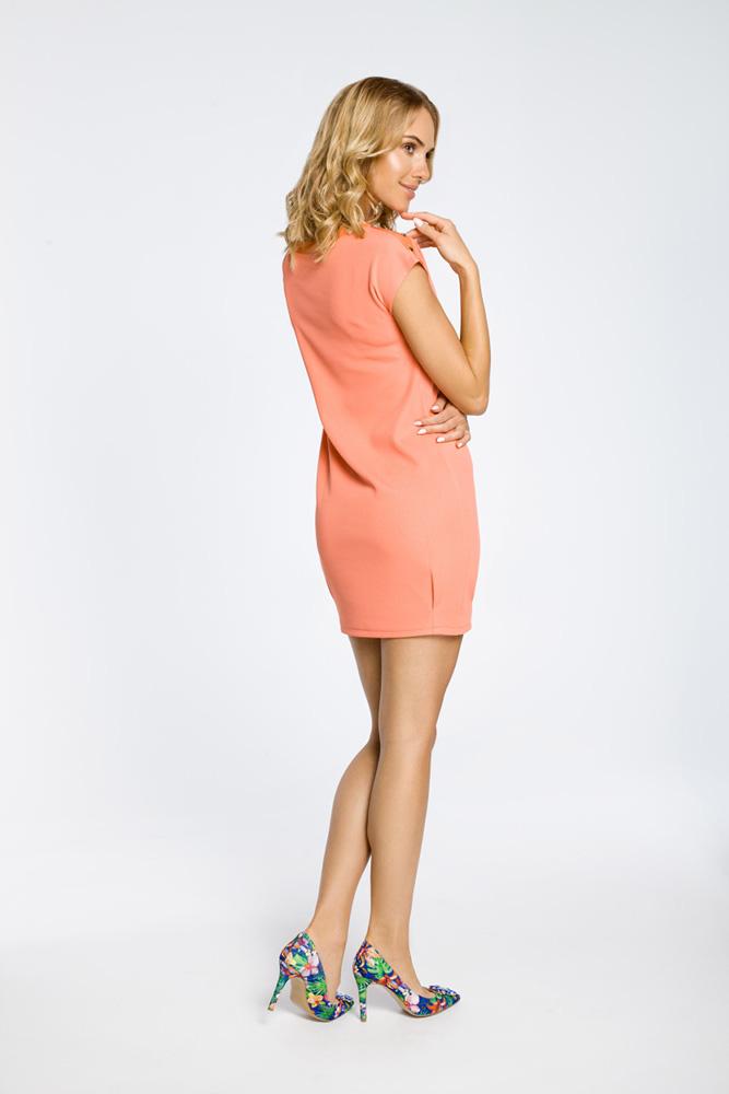 CM0285 Mini sukienka bombka tunika złote ćwieki - koralowa