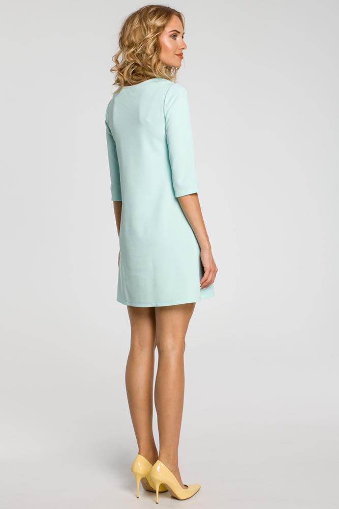 CM0286 Gładka tunika sukienka trapezowa - miętowa