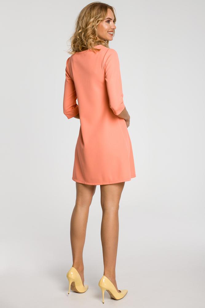 CM0286 Gładka tunika sukienka trapezowa - koralowa
