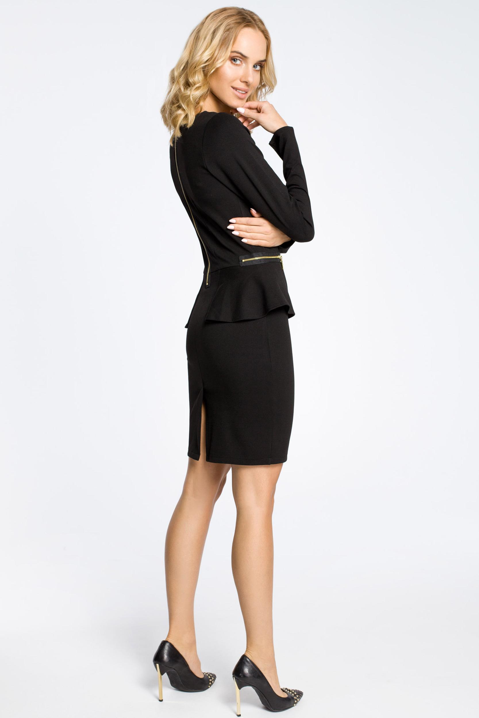CM0330 Sukienka ołówkowa z baskinką i zameczkami - czarna