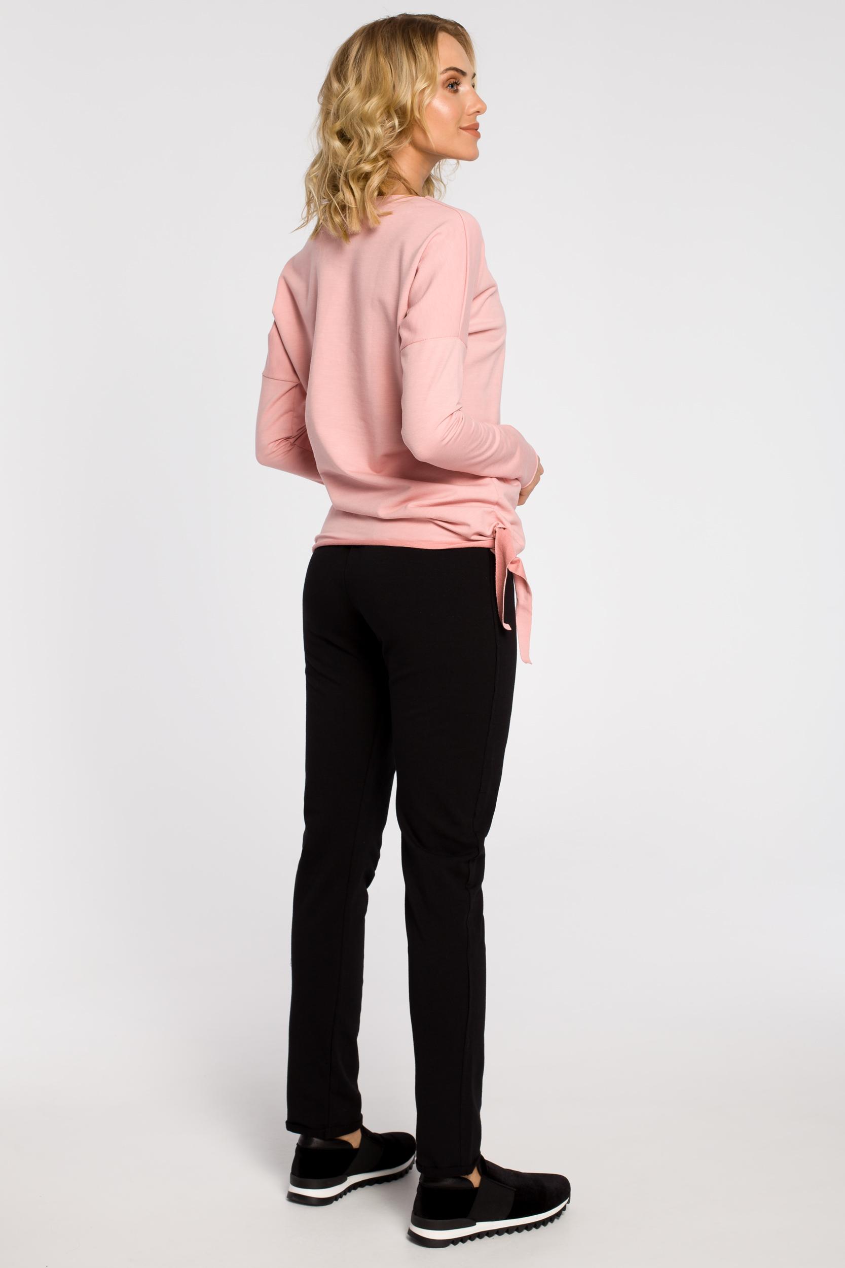 CM0340 Bluza damska dresowa z ozdobny sercem - różowa