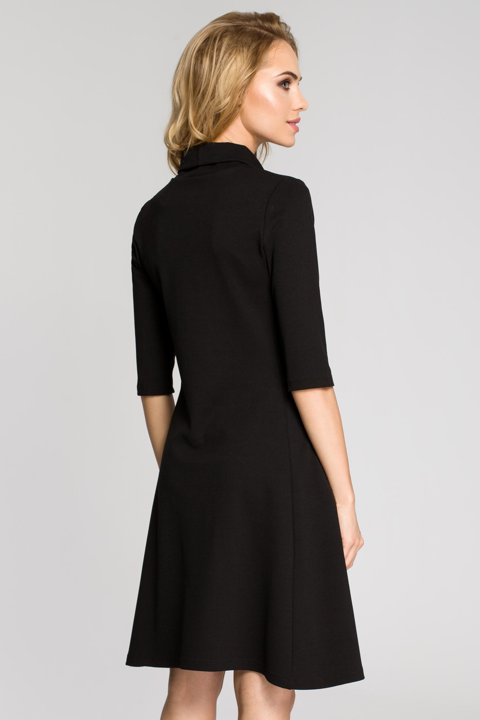 CM2685 Zwiewna rozkloszowana sukienka midi - czarna