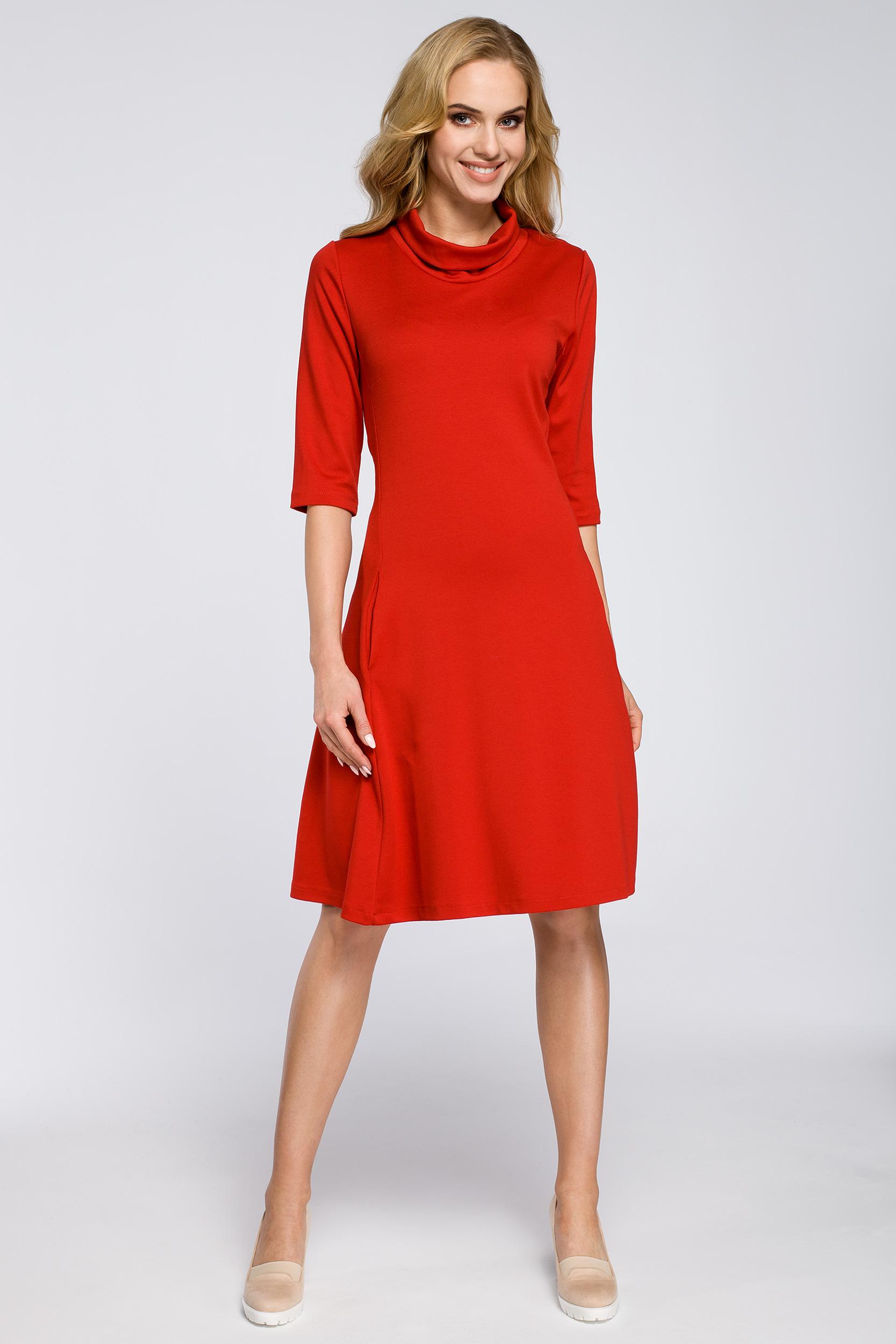 fbca8fe35b CM2685 Zwiewna rozkloszowana sukienka midi - czerwona ...