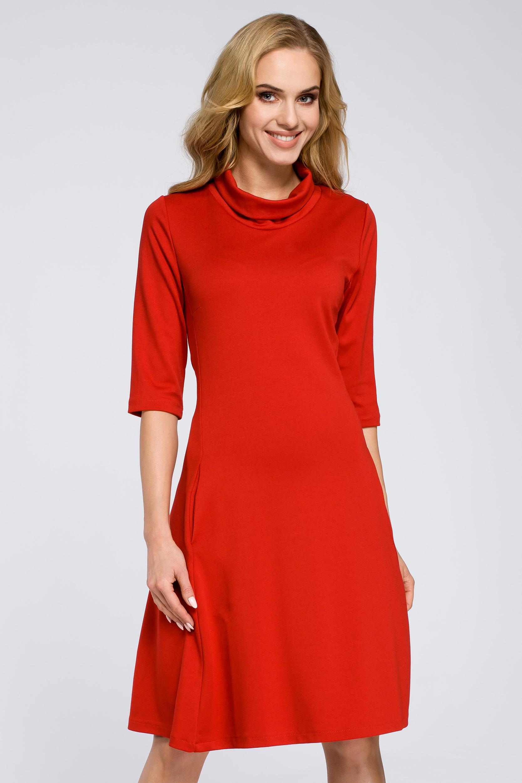 CM2685 Zwiewna rozkloszowana sukienka midi - czerwona