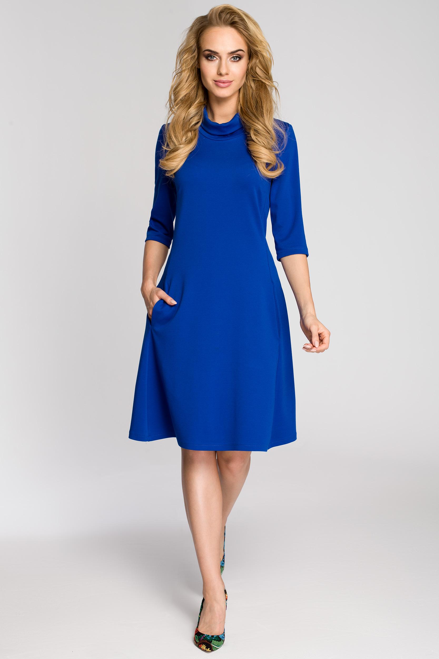 CM2685 Zwiewna rozkloszowana sukienka midi - chabrowa