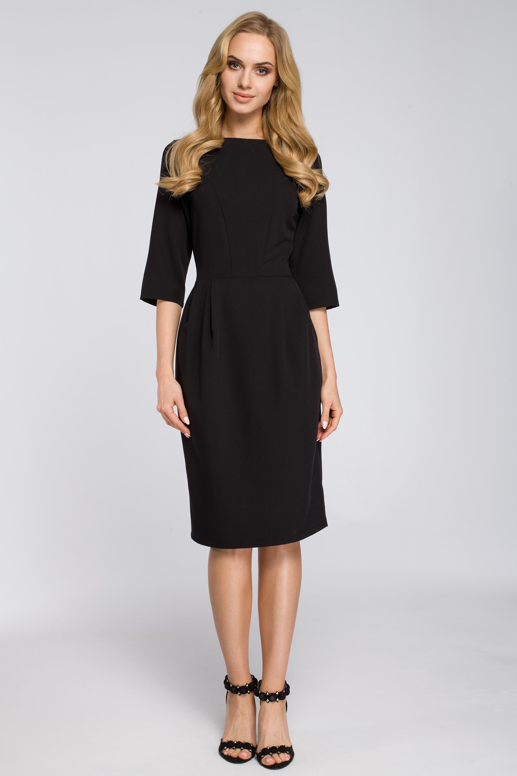 CM2683 Ołówkowa sukienka z zakładkami - czarna