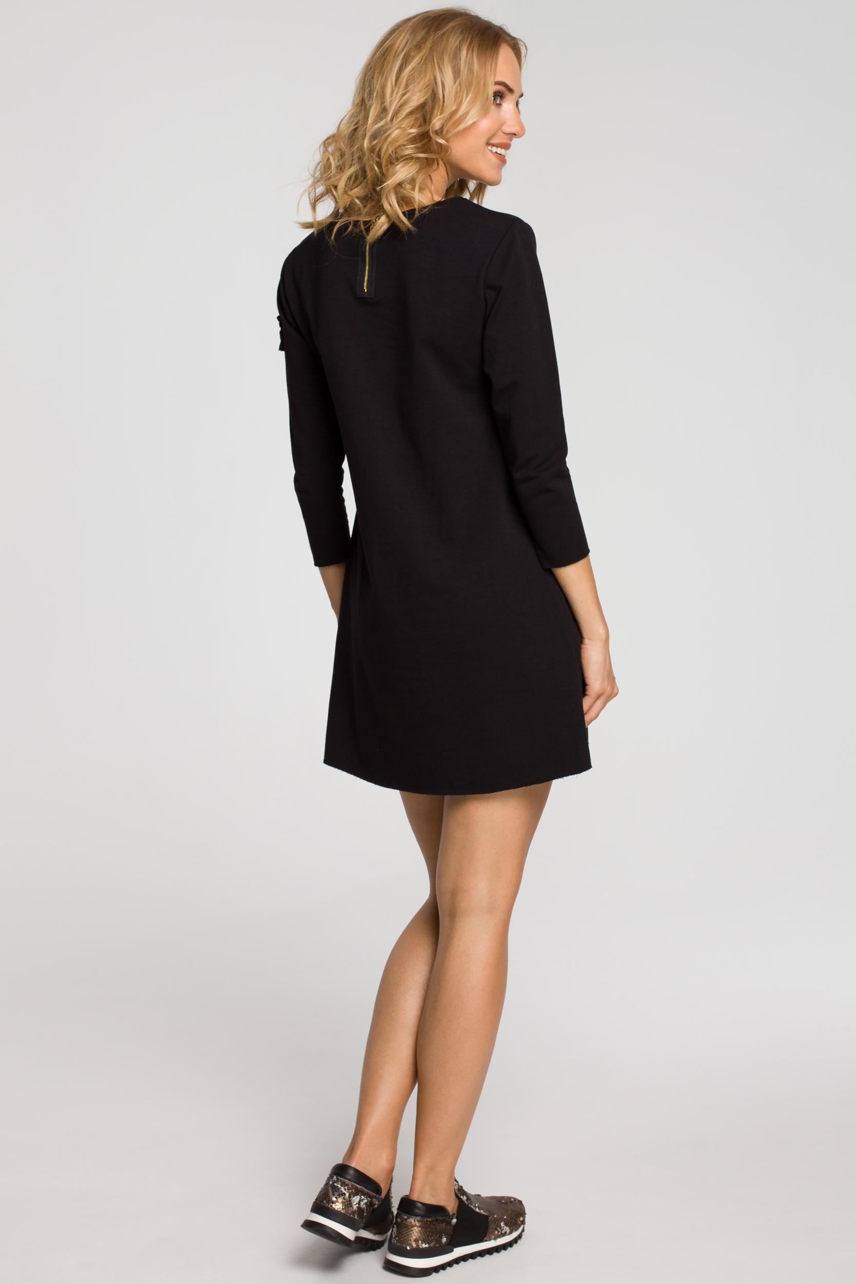 CM0356 Mini sukienka - tunika z dzianiny - czarna